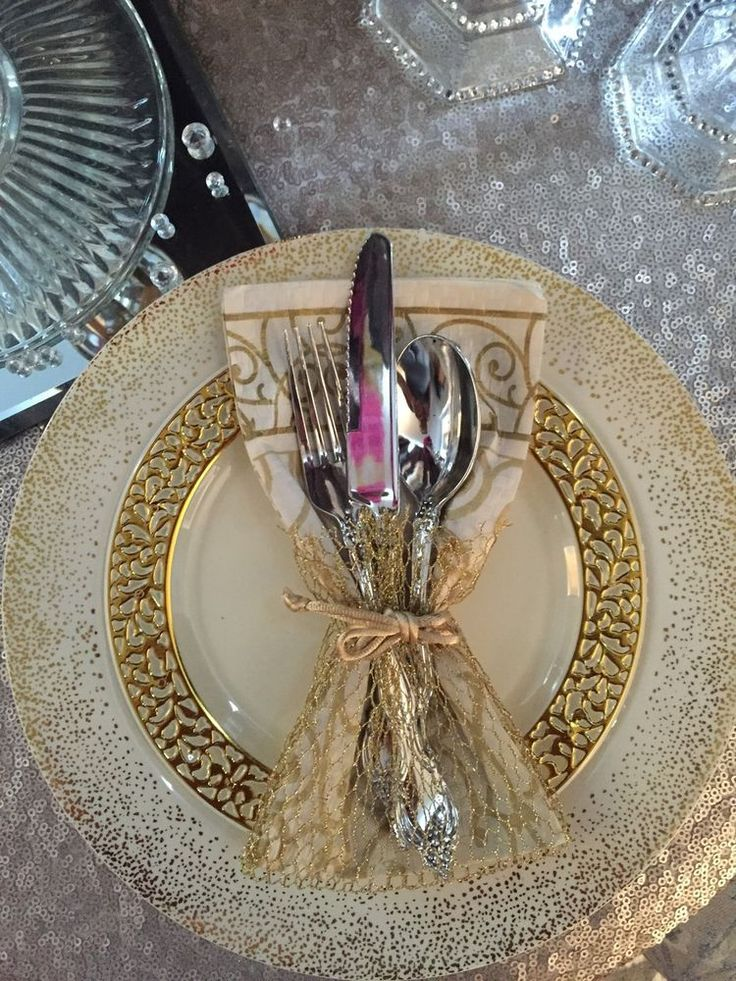 China Like Plastic Plates Cutlery Ivory Gold Lace Confetti Wedding Ebay