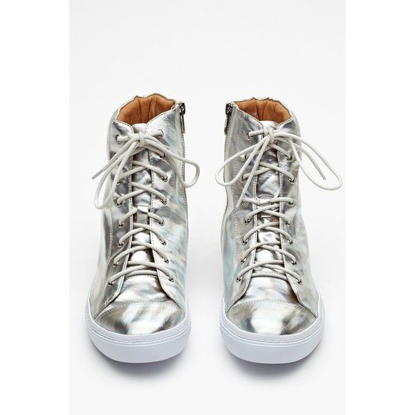 Ziggy Hologram Sneaker ($26) ❤ liked on Polyvore featuring shoes, sneakers, holographic, jeffrey campbell, lace up high top sneakers, leather platform sneakers, holographic sneakers, leather shoes and high top shoes