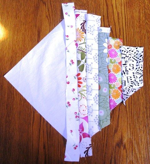 String Quilt Block Half Finished - Tutorial - Use up all my scraps