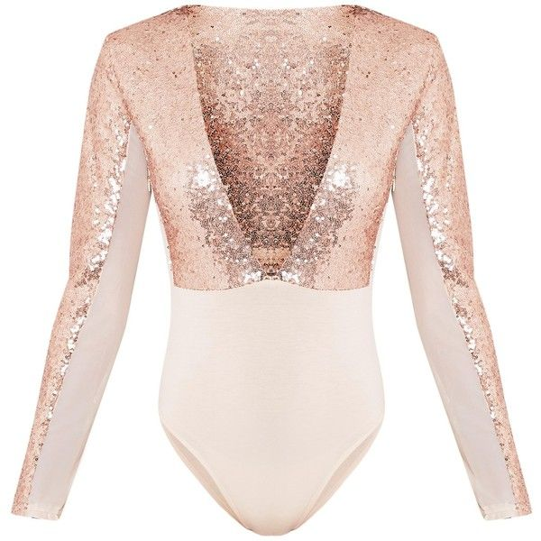 Kimberlyn Rose Gold Sequin Plunge Mesh Thong Bodysuit ❤ liked on Polyvore featuring intimates and shapewear
