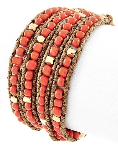 up for grabs on tophatter!Wraps Bracelets, Seeds Beads, Wrap Bracelets, Brown Cords, Acrylics Seeds, Seed Beads