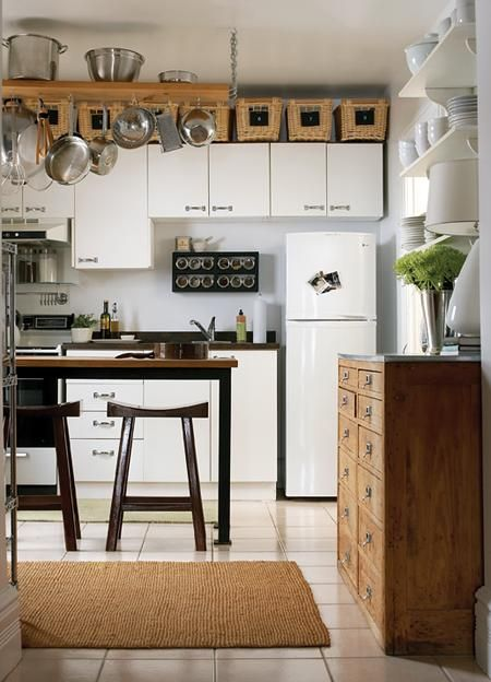 baskets above cabinets