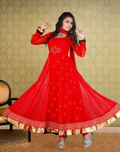 USD 96.91 Red Net Resham Work Long Anarkali Salwar Kameez   34105