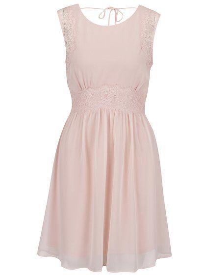 Svetloružové šaty s čipkovanými detailmi VERO MODA Lena