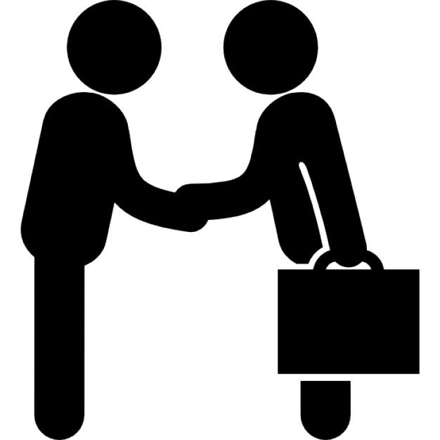 Businessmen salutation standing one in front the other and one carrying a suitcase Free Icon