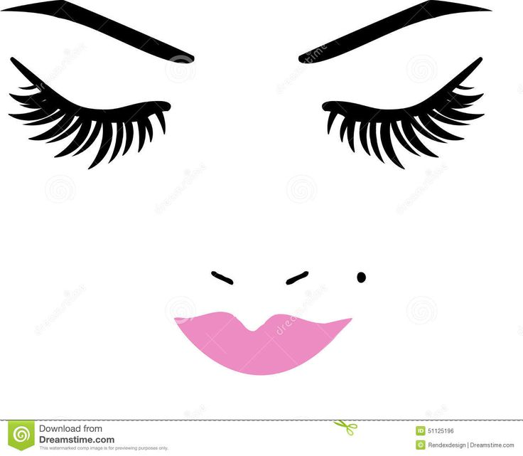 Kiss And Makeup Svg: Closed Eyes And Lips Stock Vector - Image: 51125196