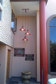 Our steelworkers pendant lights in Mexican red..