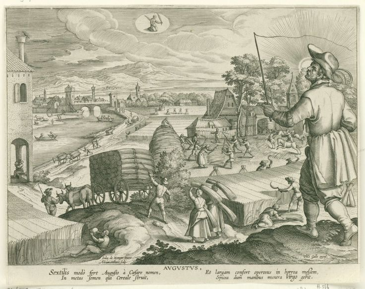 Adriaen Collaert   Augustus, Adriaen Collaert, Cornelis Kiliaan, Philips Galle, 1586 - 1618   Op de voorgrond rechts staat een man van middelbare leeftijd met een zweep in de hand. Op de achtergrond wordt graan geoogst en naar de graanschuur gebracht . Middenboven in de wolken het astrologisch teken van de Maagd. De prent heeft een Latijns onderschrift en is deel van een twaalfdelige serie over de maanden van het jaar.
