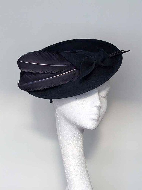 Navy Blue Felt Disc Fascinator Headpiece by CoggMillinery on Etsy