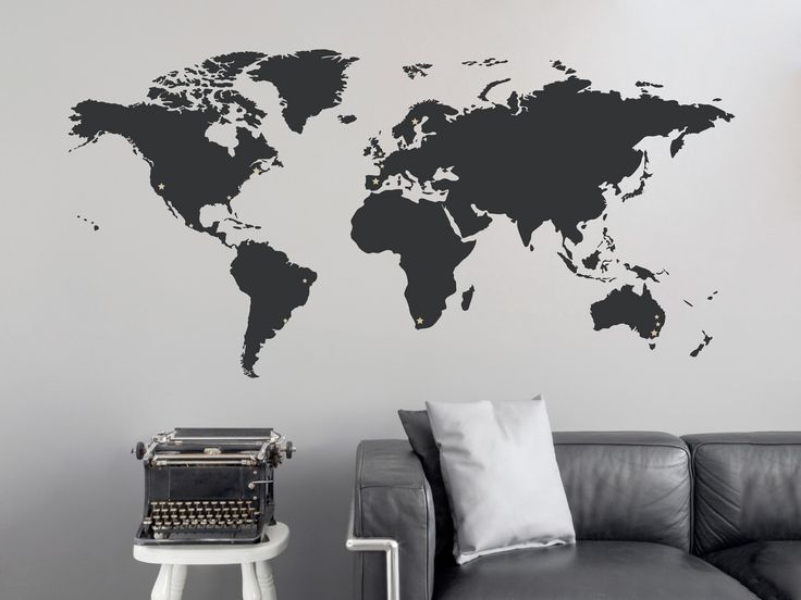 world map wall decal with stars for places travelled