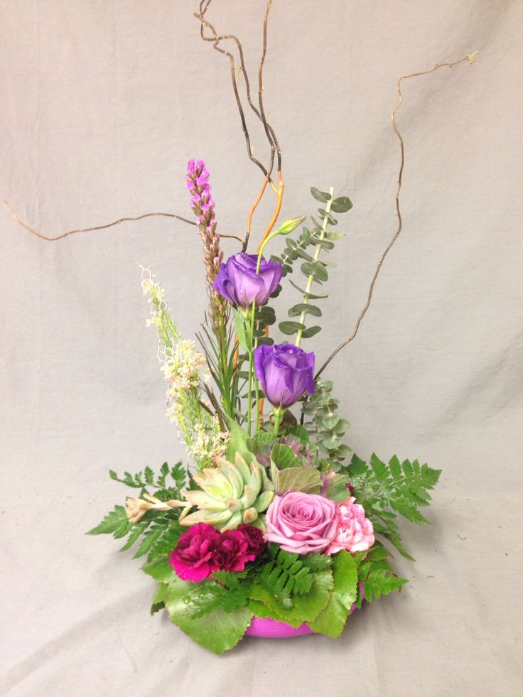 Industrial Design  March 8th Product Used: Curly Willow, eucalyptus, Liatris, Rose, Carnation, Galex leaves, Leather leaf, Succulent, Cabbage, Lisianthus, Chicken Wire