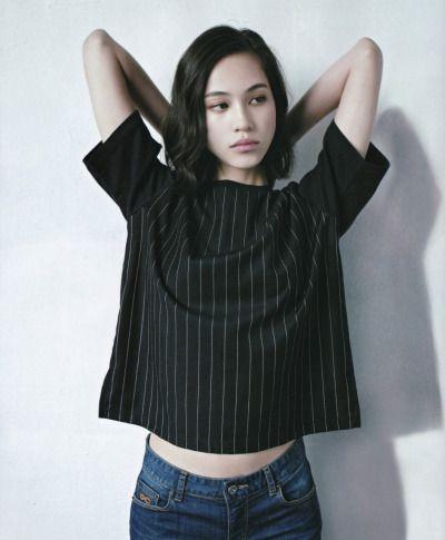 pinstripe crop #top x high waist #jeans :: Kiko Mizuhara
