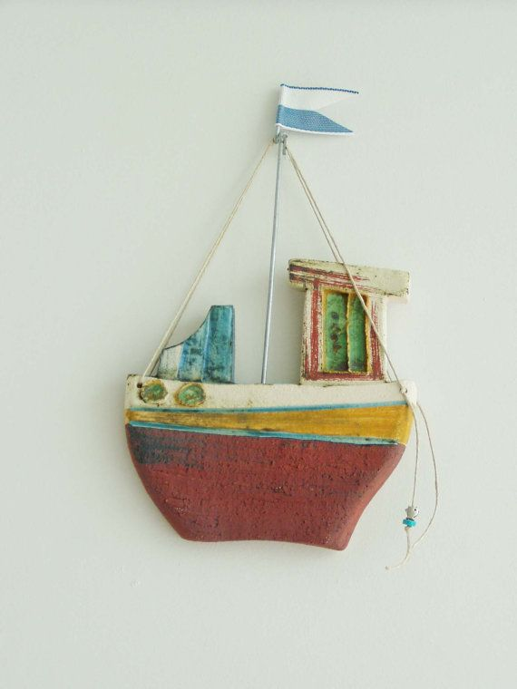 Ceramic fishing boat, wall decor ceramic boat, Greek fishing boat with blue white flag, made to order