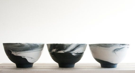 Marble black and white.Hand made ceramic bowl with by ONEandMANY