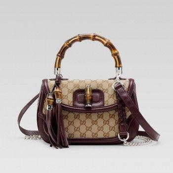 Gucci 240242 Fwcgn 9757 New Bamboo'Medium Top Griff Tasche mit Quasten Ein Gucci Damen Handtaschen