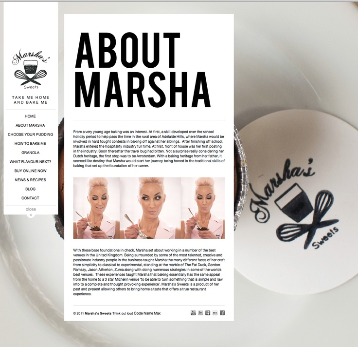 Marsha's Sweets Website. Build and Designed by Code Name Max