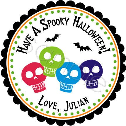 halloween skulls personalized stickers by partyink - Halloween Skulls