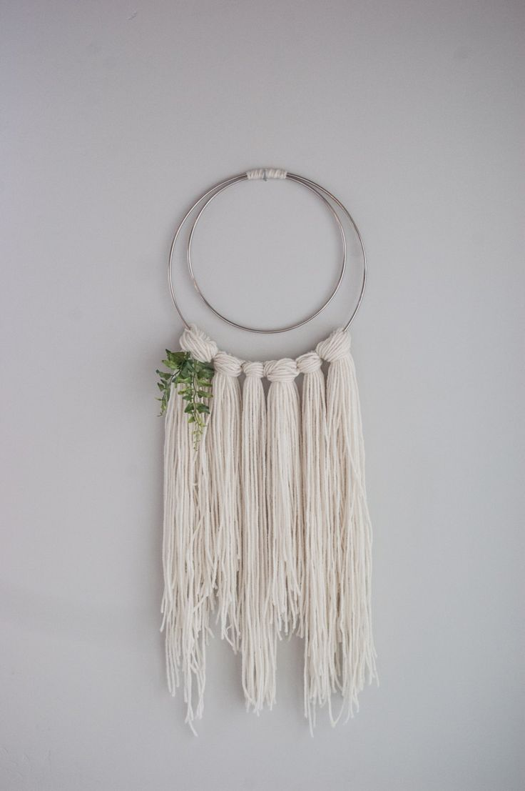 Yarn wall hanging boho wall art metal ring wall hanging
