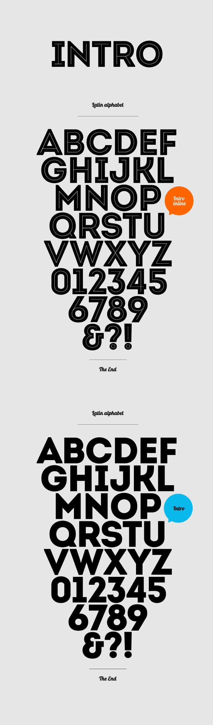 """Intro -- Free font -- Strongly expressed geometric makeup and structure. The basic letters like """"A"""", """"O"""" and """"H"""" are built or based on principles of simple geometric forms – triangles, circles and squares. In contrast to the Futura font which possesses similar styling, the Intro font preserves the characteristic sharpened edges of the """"А"""", """"V"""" and """"W"""" letters even in it's boldened form."""