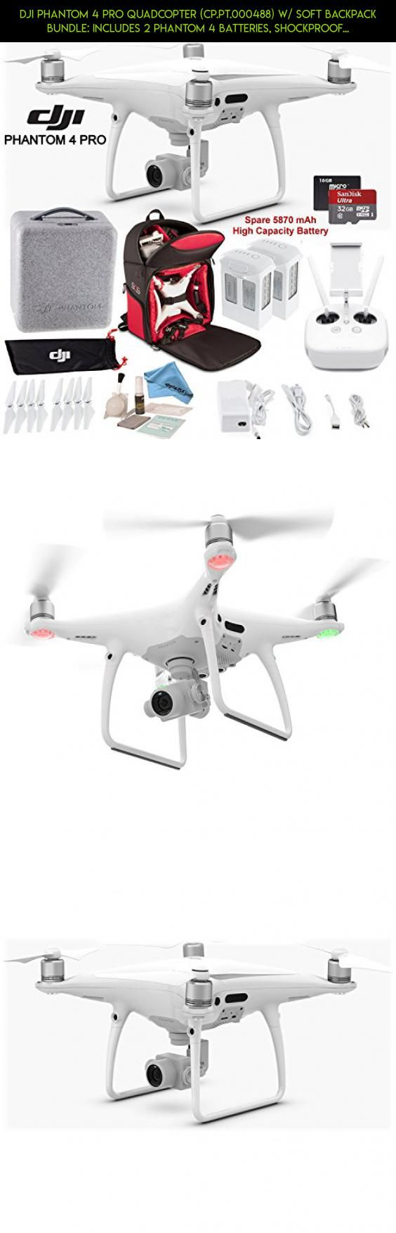 DJI Phantom 4 Pro Quadcopter (CP.PT.000488) w/ Soft Backpack Bundle: Includes 2 Phantom 4 Batteries, Shockproof Backpack, SanDisk 32GB Ultra MicroSD Card and more... #fpv #4 #products #kit #gadgets #technology #phantom #parts #dji #camera #battery #pro #plans #bundle #tech #2 #racing #drone #shopping