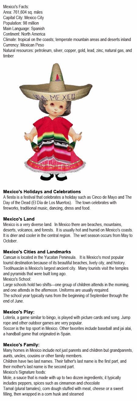 Mexico information for kids http://firstchildhoodeducation.blogspot.com/2013/11/mexico-information-for-kids.html