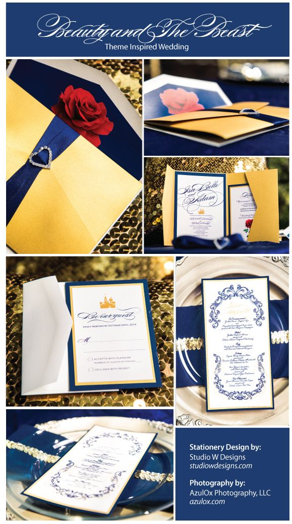 Beauty and The Beast Themed Wedding Invitation ©Studio W Designs www.studiowdesigns.com