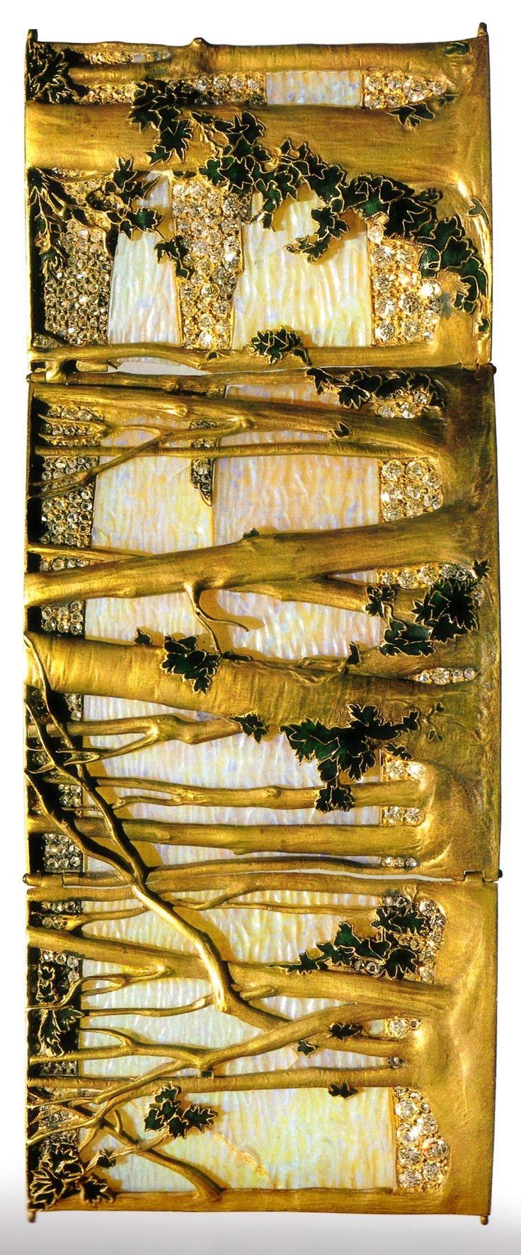 An Art Nouveau 'Trees' choker plaque, by René Lalique, circa 1898-99. Gold, enamel, opals and diamonds. Source: René Lalique Exceptional Jewellery 1890 - 1912.