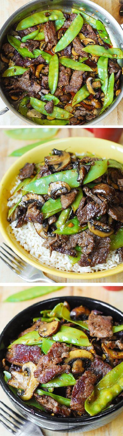Bœuf a la saveur asiatique avec des pois mange tout et des champignons /Asian Beef with Mushrooms & Snow Peas in an Asian sauce