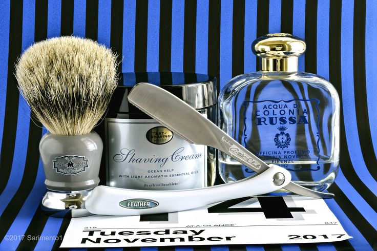 The Art of Shaving Ocean Kelp shave cream, Mühle badger brush, Feather Artist Club folding straight razor, Santa Maria Novell Russa cologne.