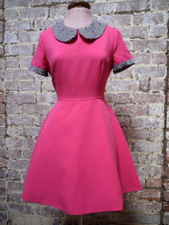 SALE  hot pink dress /peter pan collar/short sleeves/full skirt/1950s style dress/tea dress/party dress on Etsy, $59.64
