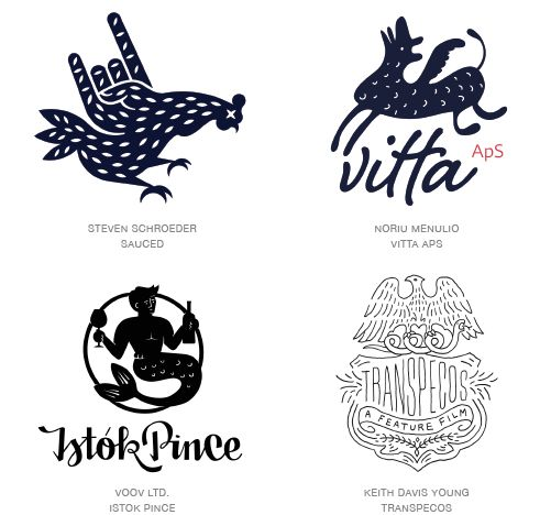 Naive logo trend examples Istok Prince: black/white, circular shape, name underneath