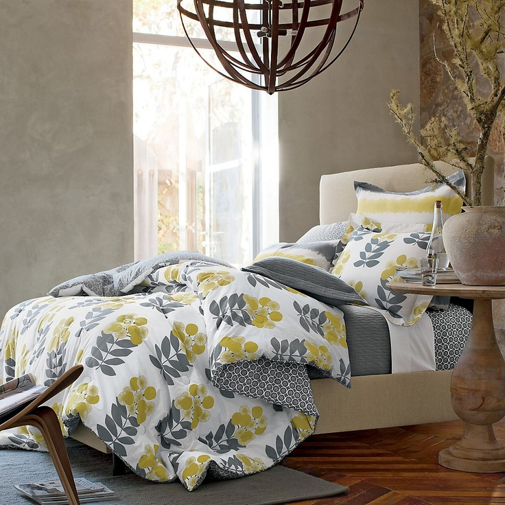 white yellow gray bedding love this for my bedroom