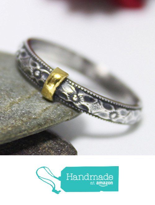 Floral Band With Golden Line Sterling Silver 24K Keum-boo Ring, Silver Ring, Rustic Ring, Engagement Ring, Couple Ring, Floral Band Ring, Statement Ring, Silver Stacking Ring, Oxidized Ring from rosajuri https://www.amazon.com/dp/B01MY55CGB/ref=hnd_sw_r_pi_dp_RYh1ybDE9441W #handmadeatamazon