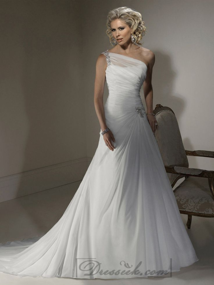 A-line Wedding Dresses with One Shoulder Neckline and Corset Closure