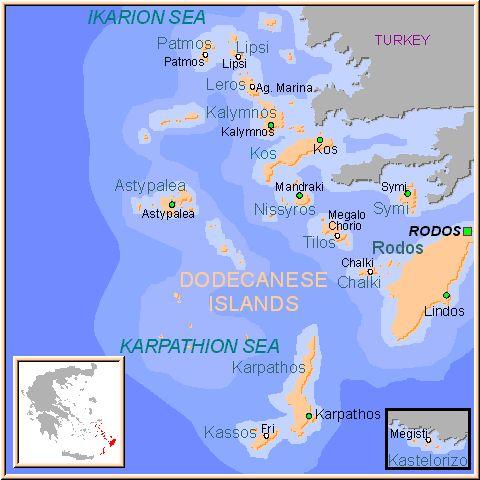 ☼ Grecia Greece ☼  Mapa de las Islas del Dodecaneso, Islas Griegas Grecia.