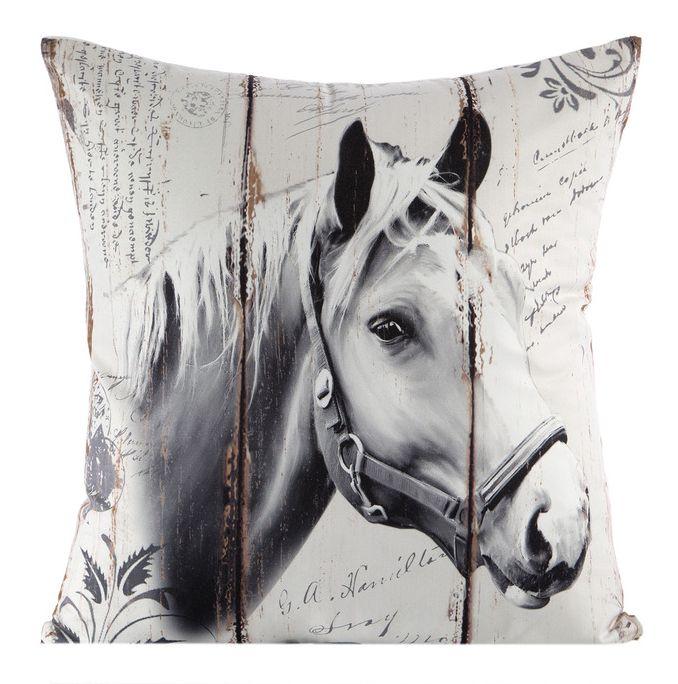 Ozdobná obliečka na vankúš bielej farby s motívom koňa