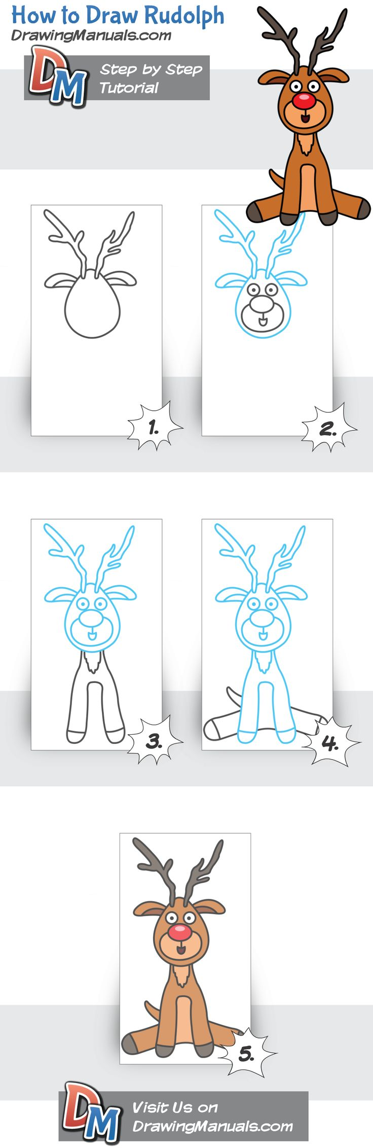 How to Draw Rudolph http://drawingmanuals.com/manual/how-to-draw-rudolph/