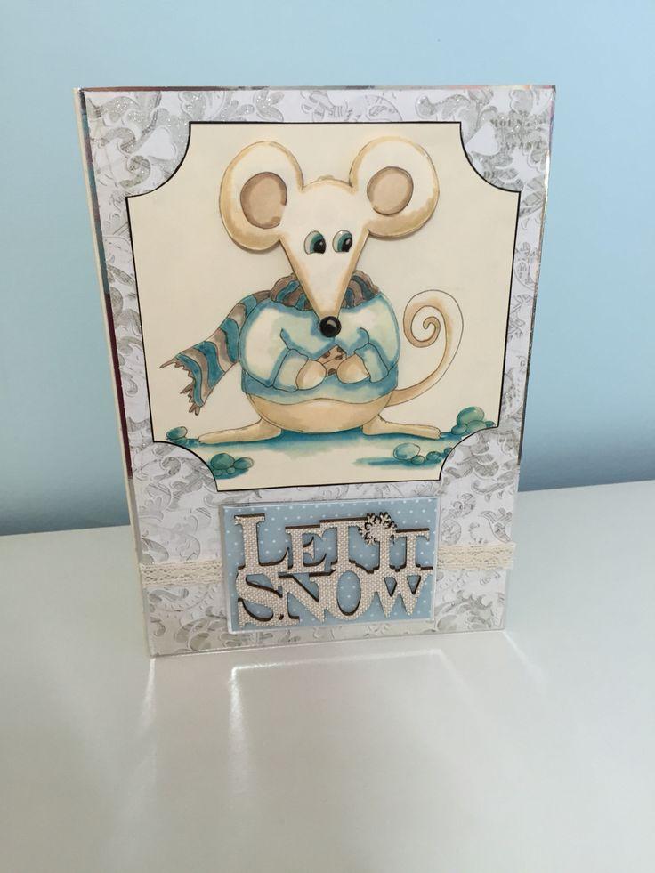 Festive mouse handmade Christmas card made using House of Zandra decoupage