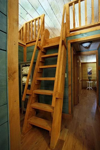 Getting To The Sleeping Loft Tiny House Stairs Loft Ladder Cabin Loft
