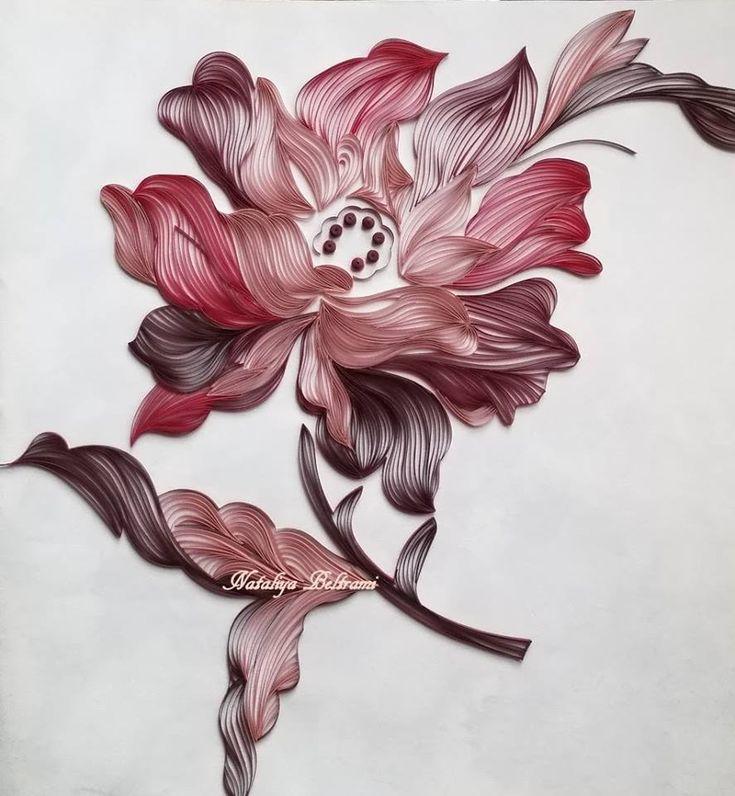 Quilled Maroon Flower - by: Nataliya Beltrami