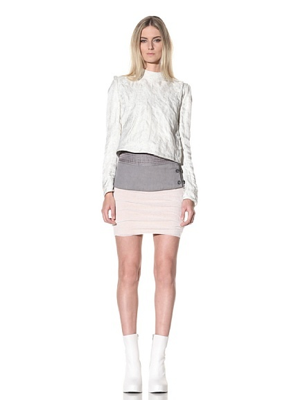 Ann Demeulemeester: Side button Jacket and two-toned skirt.  Recreation in the making.  What about the little white booties?