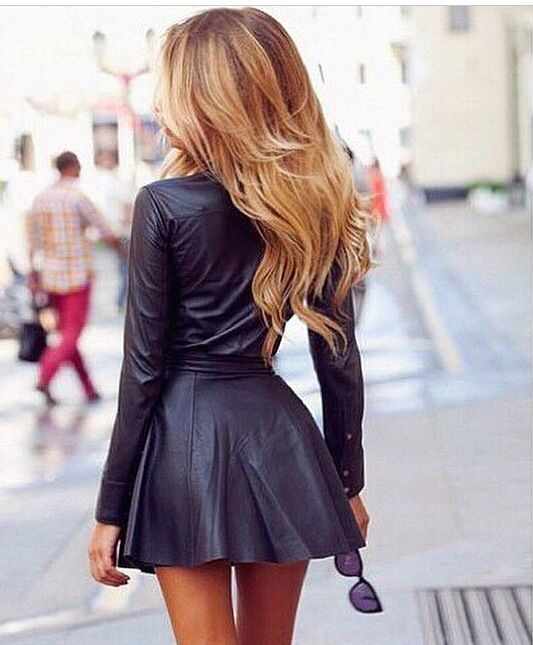 leather dress and tiny waist go great together