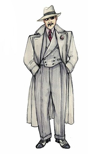 A costume sketch from Golden Boy by Tony-nominated designer Catherine Zuber. Image from Tony Award Productions.