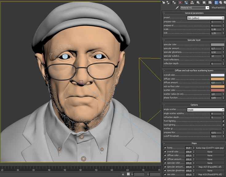 Vray Subsurface Scattering settings for realistic skin.