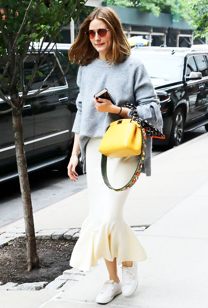 Olivia Palermo just wore the chicest white sneaker outfit. See and shop the easy 3-piece look here.