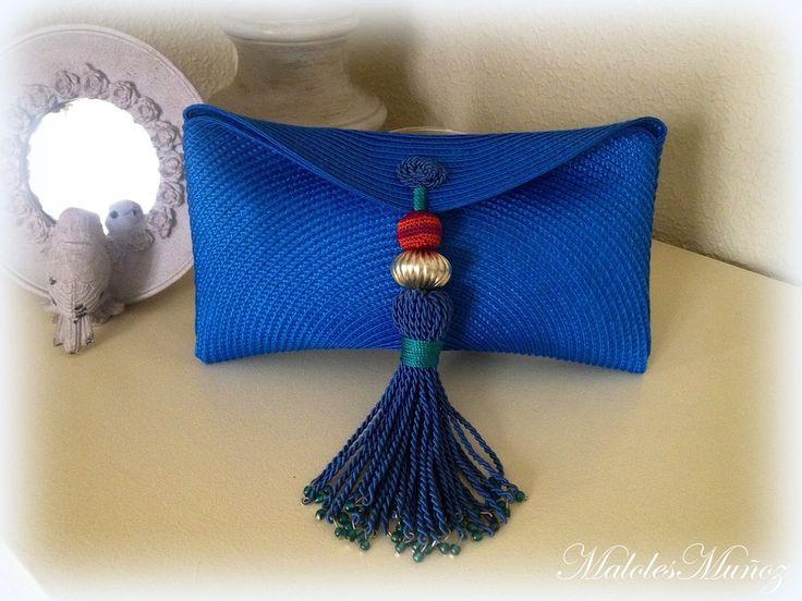 Cartera de mano  Clutch Paja / Borla azul