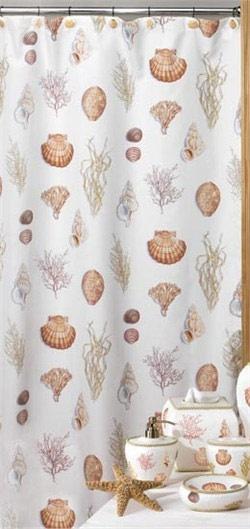 Unique Shower Curtains | Seashell Shower Curtains | Shower Curtains |  Modern Kitchen Curtains
