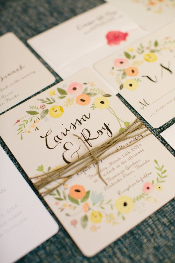 Boho Chic Floral Wedding Invitation Set as by ChelsiLeeDesigns, $40.00