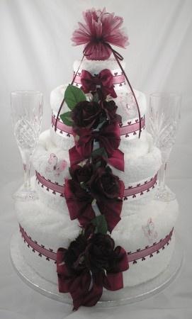 Four Tier Wedding Towel Cake in Wine