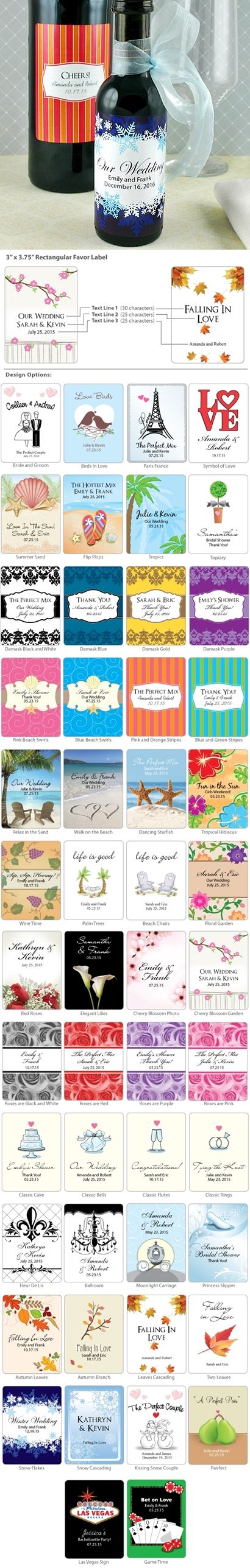 Personalized Large Rectangular Favor Labels (50 Designs) (Set of 6)